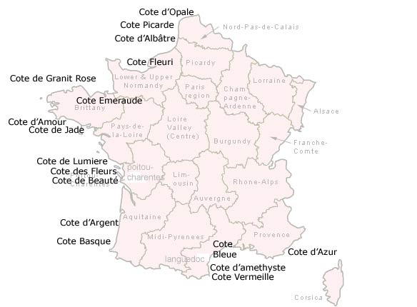 Major coastal regions of France and most popular beaches