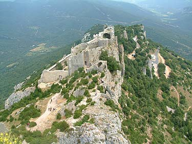 Peyrepertuse castle seen from St Jordi rock