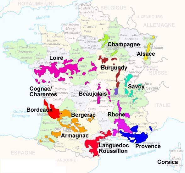 map showing the main wine producing regions of France