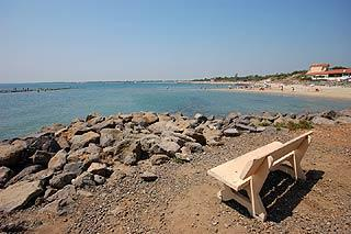 Bench and beach at Cap d'Agde