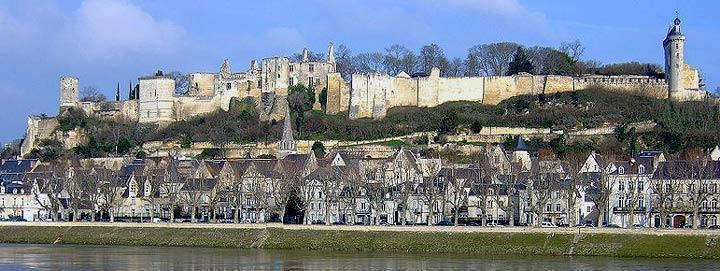 View of chateau de Chinon in the Loire valley