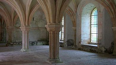 vaulted interior of Fontenay Abbey