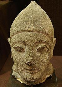 Carved head from Cyprus in museum