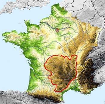 Position of massif Central in southern france
