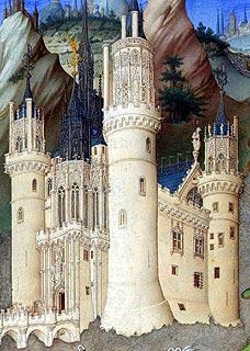 Peinture de la ville médiévale du château de Mehun