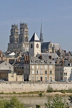 cathedral and skyline of Orleans from the banks of the Loire River