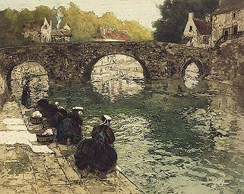 Washerwomen at river