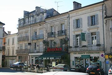 shopping street and cafes in Riberac