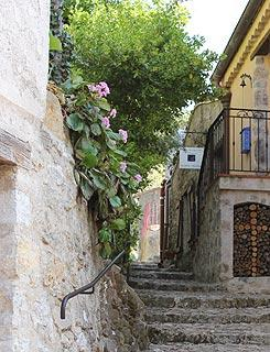 steep street in village