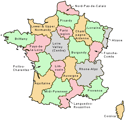 map of the regions of France