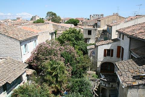 view across rooftops of Aigues-Mortes