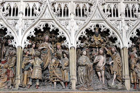 Détail de la sculpture à l'intérieur de la cathédrale d'Amiens