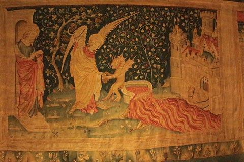 Part of the Apocalypse Tapestry in the grounds of Chateau d'Angers