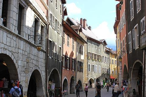 Houses and shops with arcades in historic Annecy