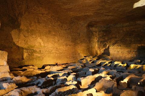 sarcophagus in the Subterranean Monolithic Church of Saint-Jean in Aubeterre-sur-Dronne
