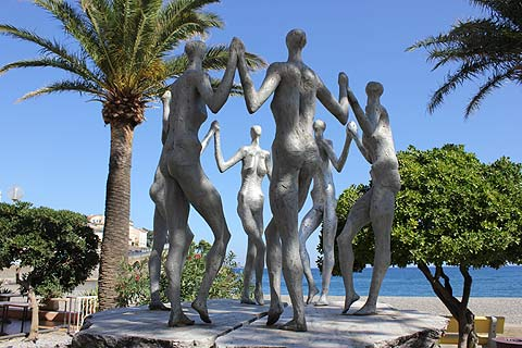 statues on seafront promenade