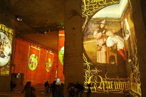 Part of the sound and light display in the Carrieres des Lumieres