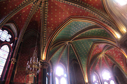 Painted colourful ceiling in the cathedral of Bayonne