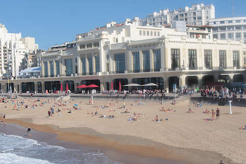 Casino dominates the beach in centre of Biarritz