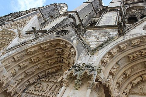 Detail of the facade of Bourges cathedral