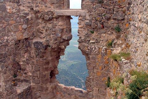 Vue depuis les murs du château en château de Quéribus