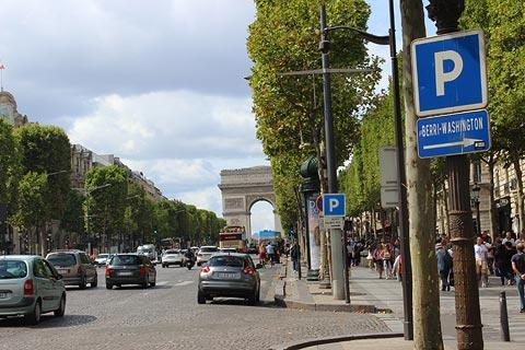 view along the Avenue des Champs Elysees