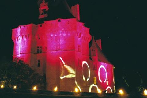 Colourful lighting on the Château de Cherveux