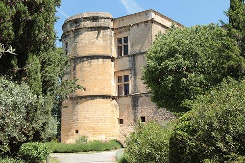 Chateau de Lourmarin seen from olive grove