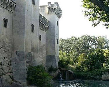 Walls and towers of Chateau de Tarascon next to the river