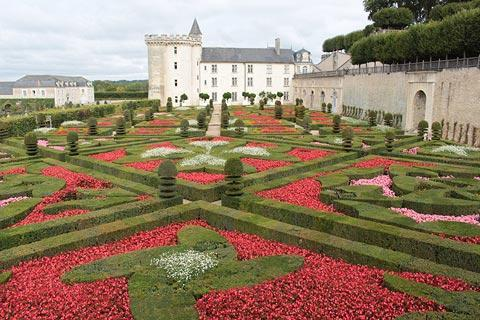 View across the gardens to Chateau Villandry