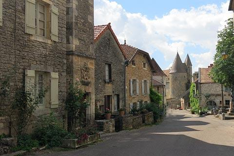Main street through village of Chateauneuf-en-Auxois