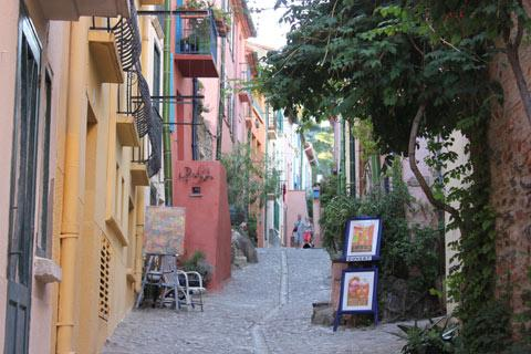Colourful houses in streets of Collioure