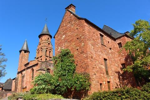 Manor house and church in centre of Collonges-la-Rouge