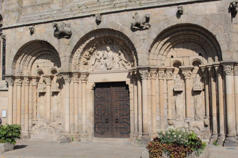 Roman style entrance to the Church of Saint-Sauveur in Dinan