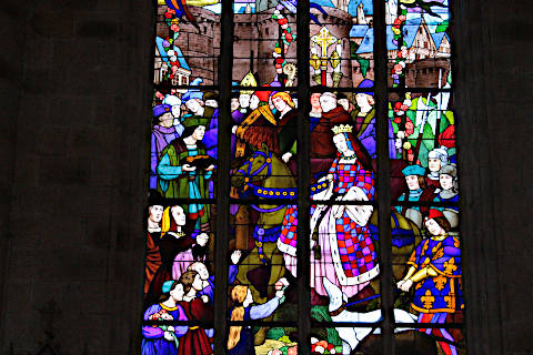 Stained glass windows in the Church of Saint-Malo in Dinan