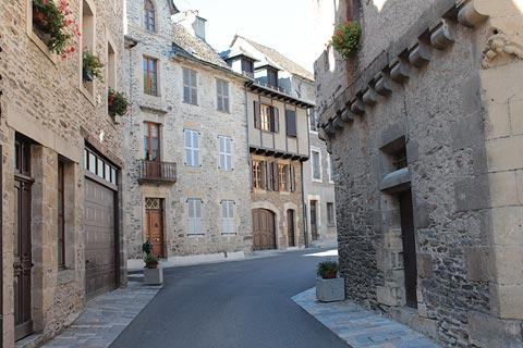 Street of medieval houses in Estaing