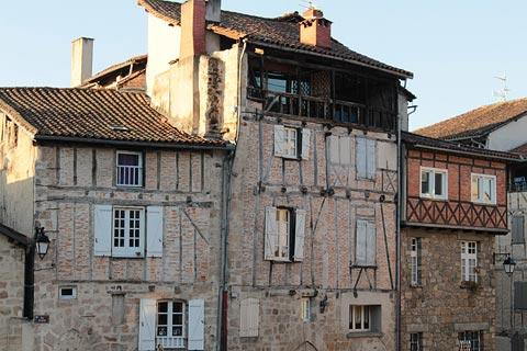Colombage houses in the center of historic Figeac