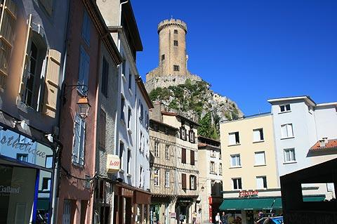 Castle seen from Foix historic centre