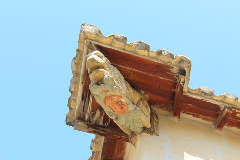 Carving in wood on medieval house in Fontvieille