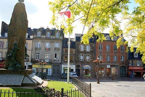 open square and statue in Fougeres
