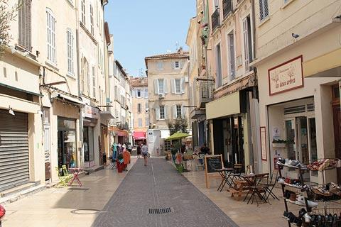 Shopping street in centre of old town in La Ciotat