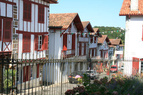 Road of colourful houses in La Bastide-Clairence