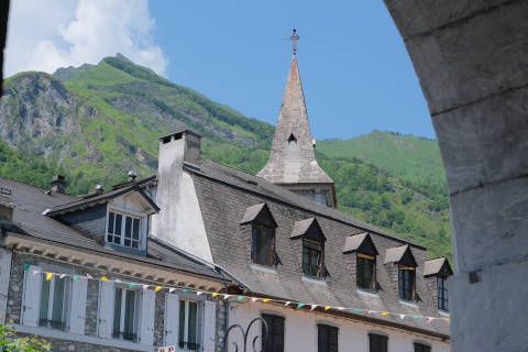 View of Laruns church and mountain from village centre