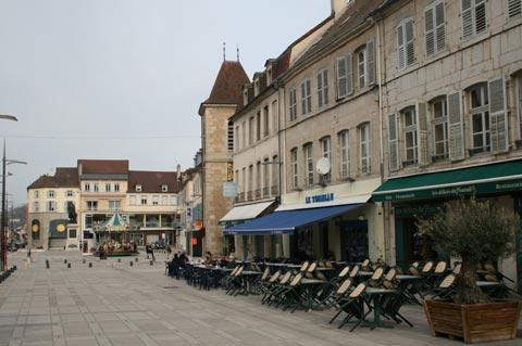 Cafe and town centre of Lons-le-Saunier