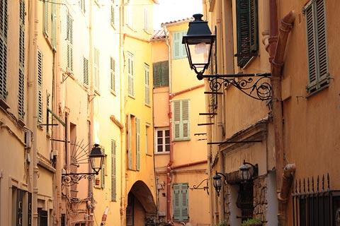 colourful houses in street in Menton