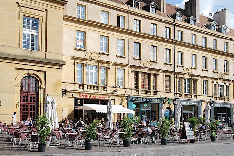 Square with cafes in Metz town centre