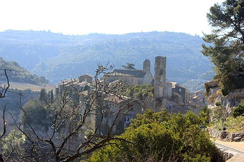 view across to Minerve village