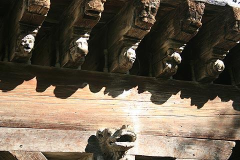 wood carvings on Mirepoix houses