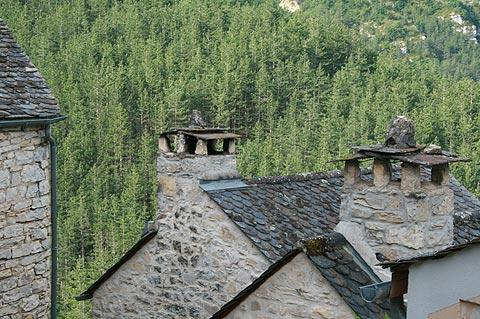 Roofs and chimneys in Montbrun