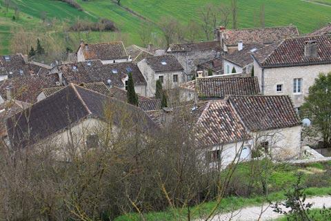 view across rooftops from the Chateau de Montcuq